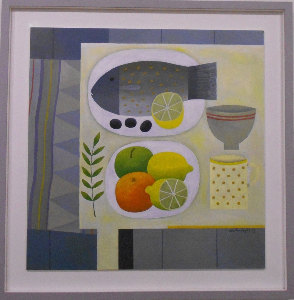 Grey Still Life with Fish   oil on board   60 x 61 cm  SOLD