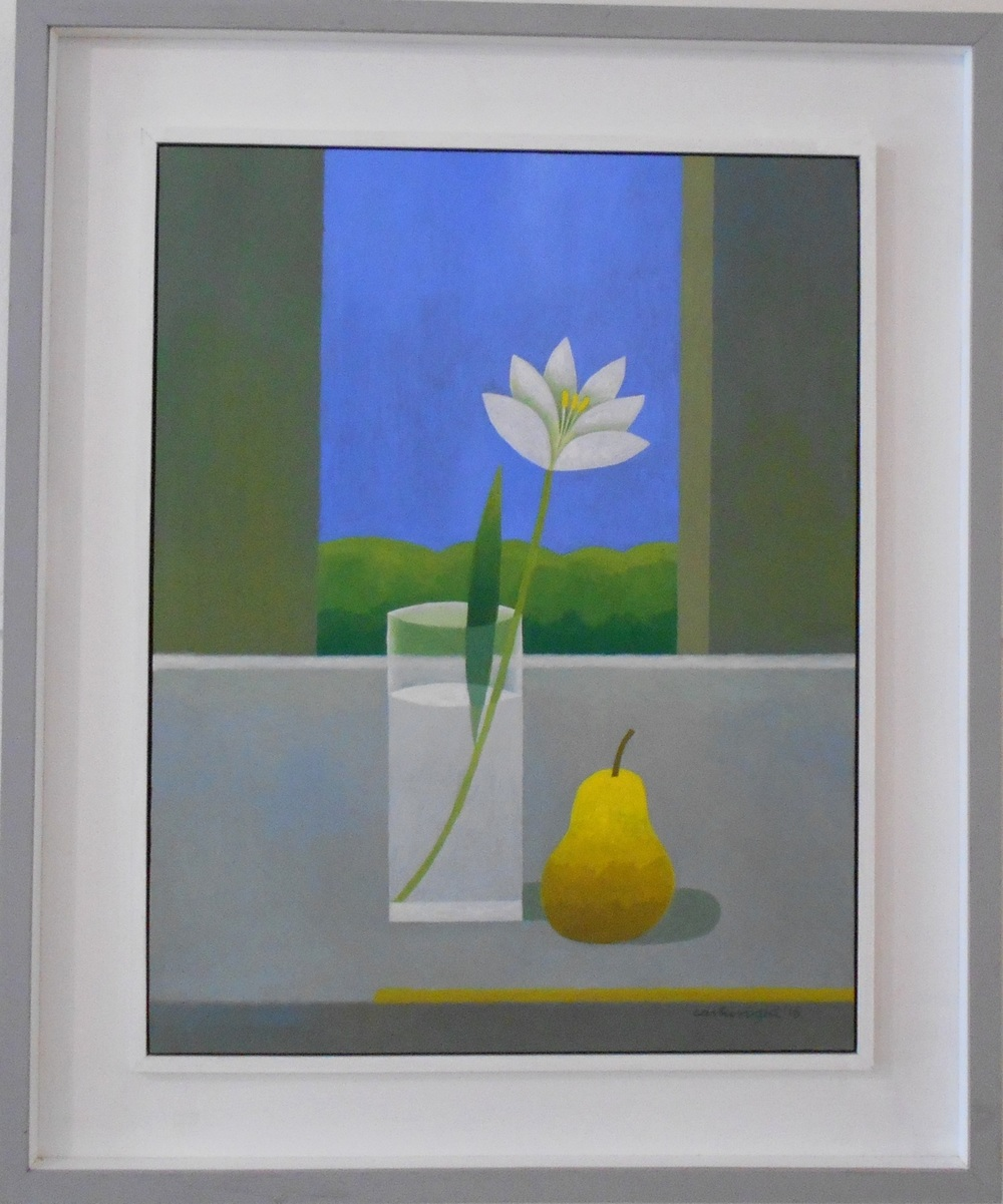 Still Life with Flower and Pear oil on board 45 x 58 cm SOLD