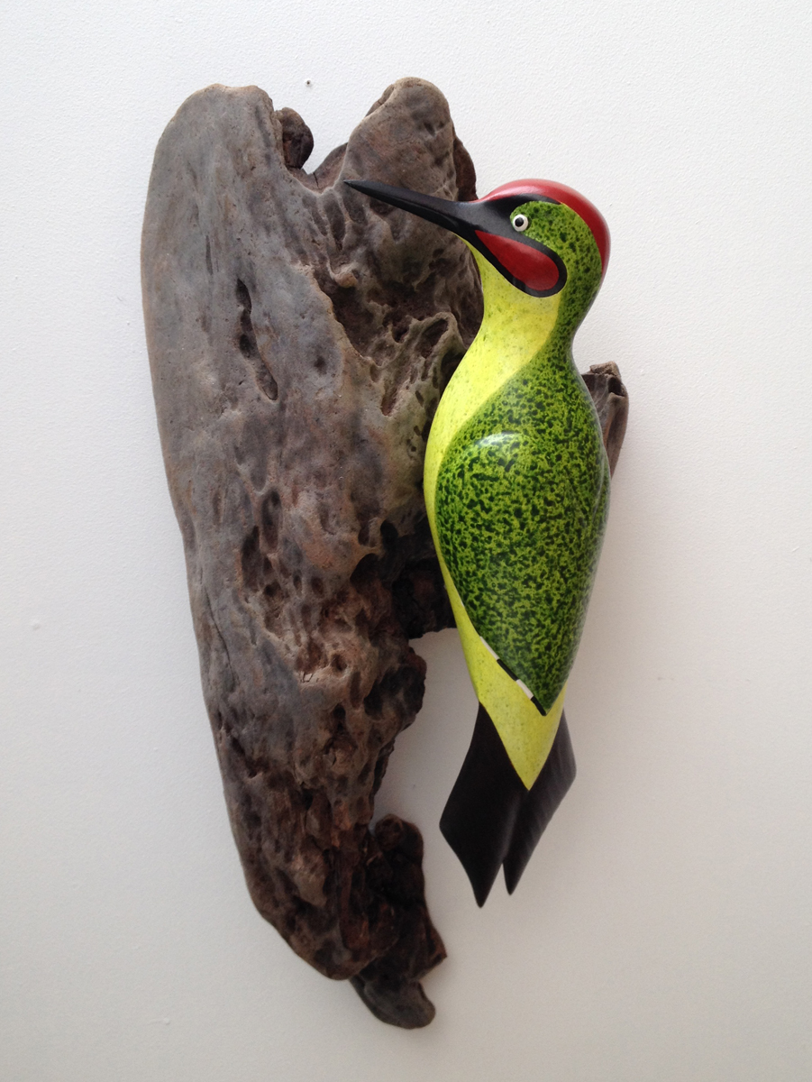 "Green Woodpecker   cedar wood & acrylic    21x10""    £400"
