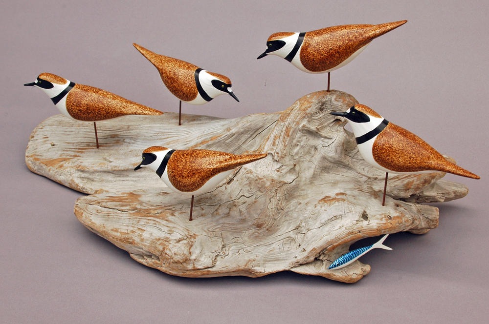 "Plover Flock cedar wood & acrylic 25x14x11"" £450 SOLD"