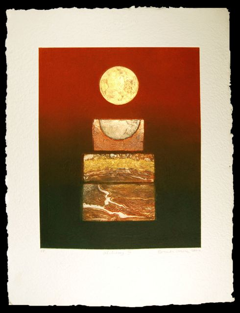 Alchemy III collaged etching with gold leaf  paper 76x56cm, image 50x40cm