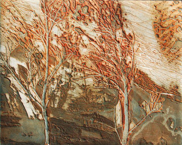 Autumn Storm II collagraph image 40x50cm, framed 63x75cm