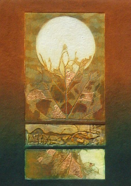 Autumnal Elements I collagraph with gold & copper leaf paper 76x56cm, image 50x40cm