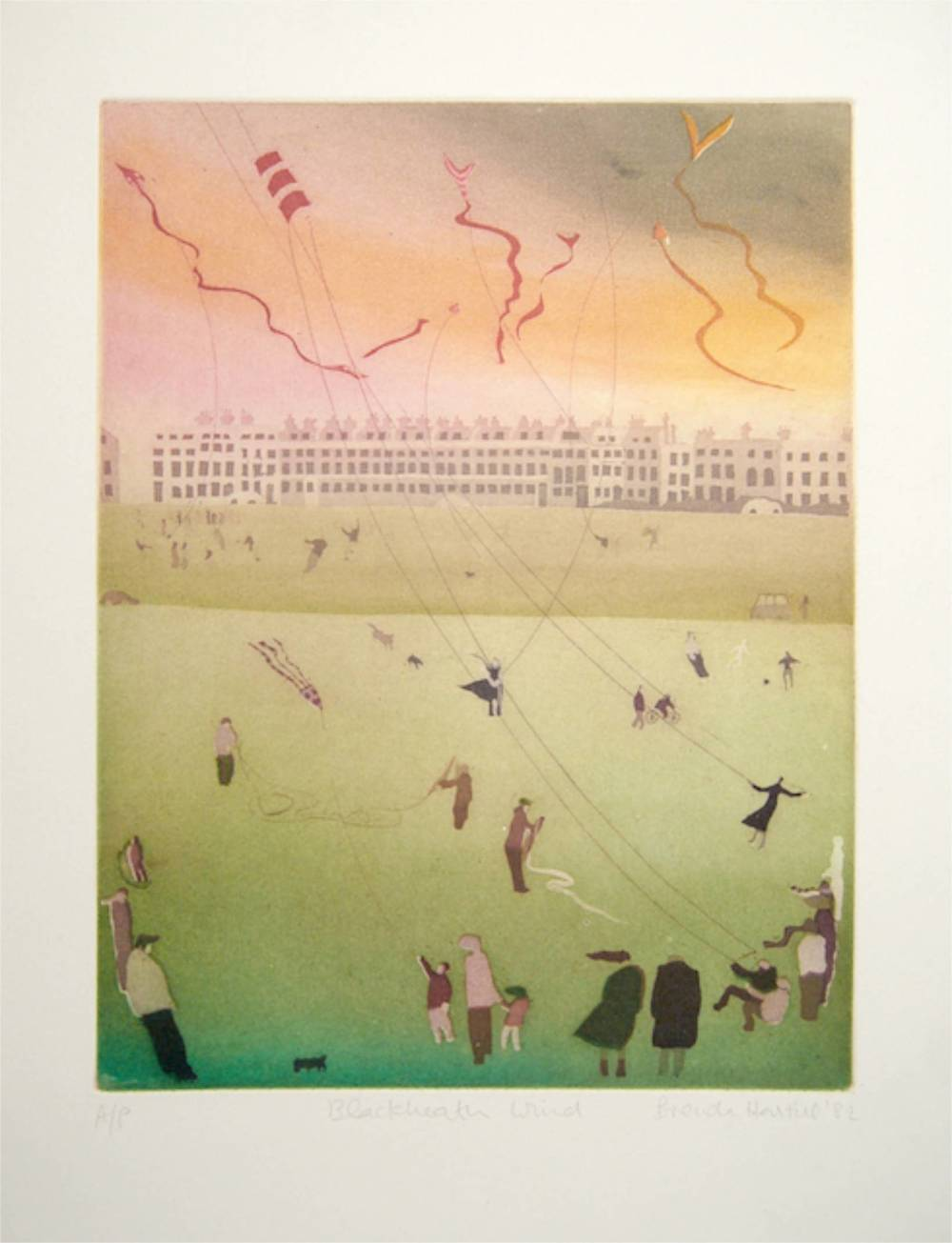 Blackheath Wind aquatint image 27x21cm, framed 38x31cm rare