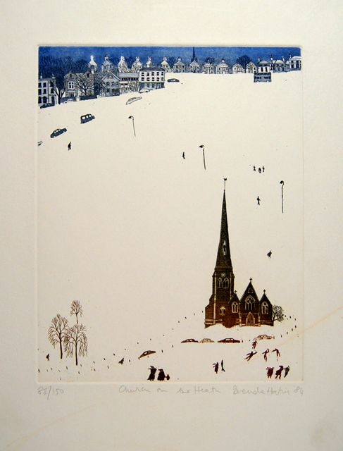 Church on the Heath paper 38x28cm, image 20x14cm rare