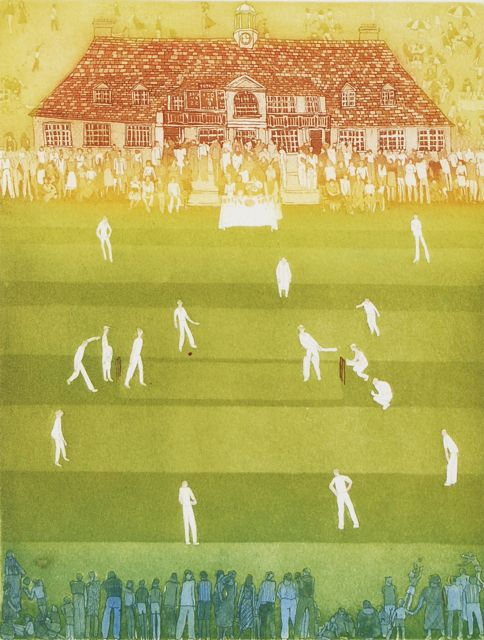 College Cricket aquatint image 28x21cm, framed 42x32cm rare