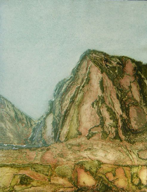 El Chorro collagraph image 73x54cm, framed 96x72cm rare
