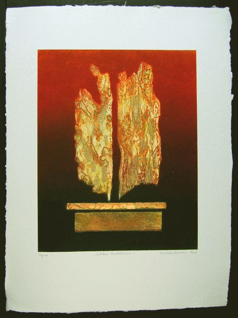 Golden Meltdown I collaged etching wth gold & copper leaf paper 76x56cm, image 50x40cm