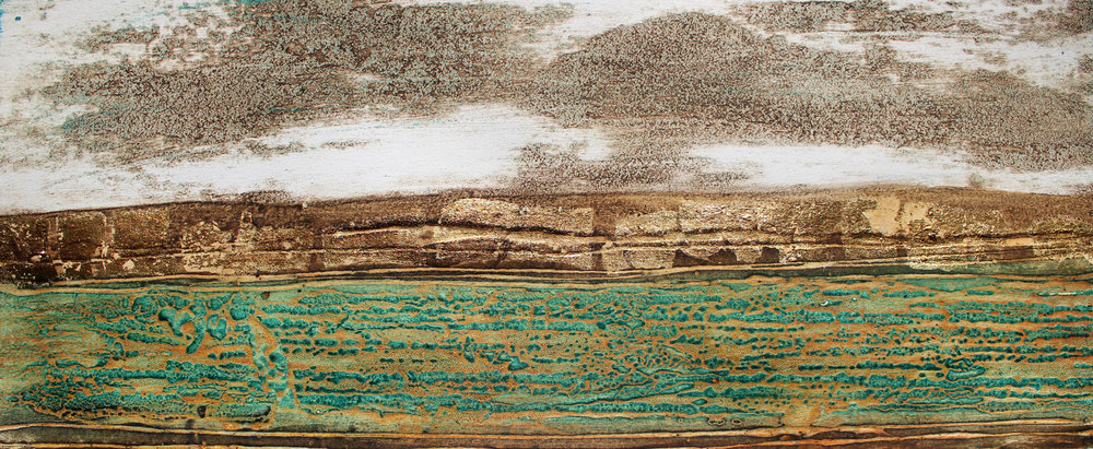 Golden Horizons collagraph 22 x 52 cm £220