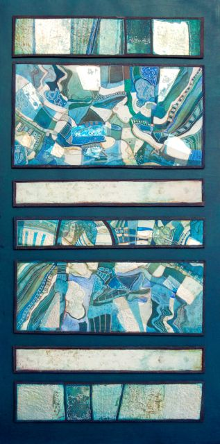 Silver Layer mixed-media collage framed 131x70cm