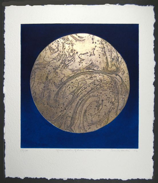 Space Warming Globe collaged etching with pure gold leaf image 49x46cm, paper 66x56