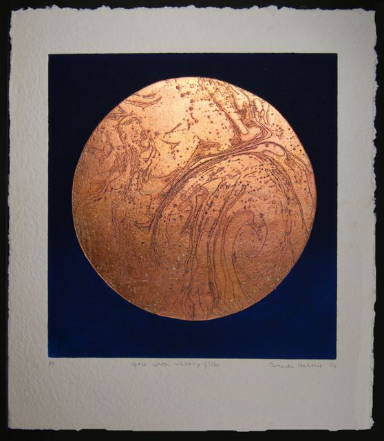 Space with Copper Warming Globe collaged etching with copper leaf image 49x46cm, paper 66x56