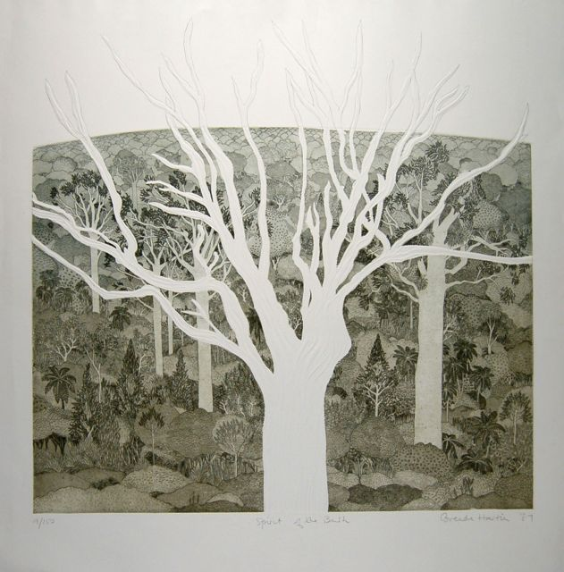 Spirit of the Bush etching with lino embossing image 76x86cm rare
