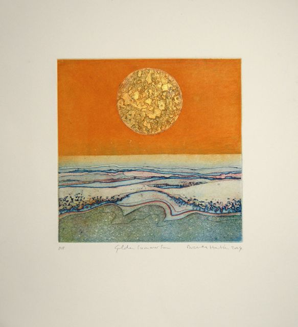 Sun Golden Summer Sun etching with gold leaf image 22x22cm, framed 43x38