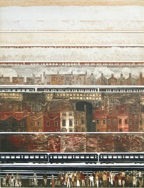 Trainscape I collaged etching image 80x58cm, framed 112x95cm rare