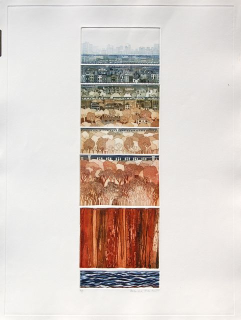 Trainscape II collaged etching image 60x18cm, framed 79x54