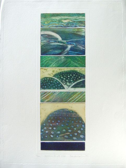 Variations X with Hill collaged etching image 60x20cm, framed 84x65cm
