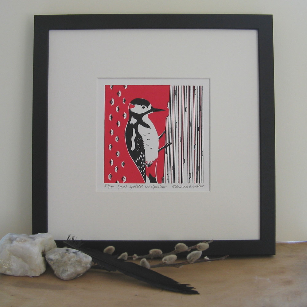Great Spotted Woodpecker   screenprint   13 x 13 cm  £20 (unframed)