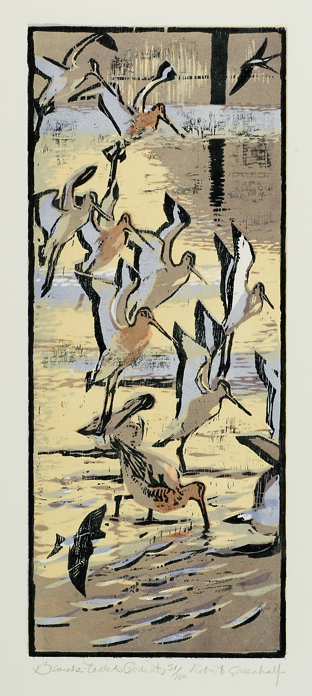 Black Tailed Godwits   woodcut   16 x 39 cm  £95 (unframed)