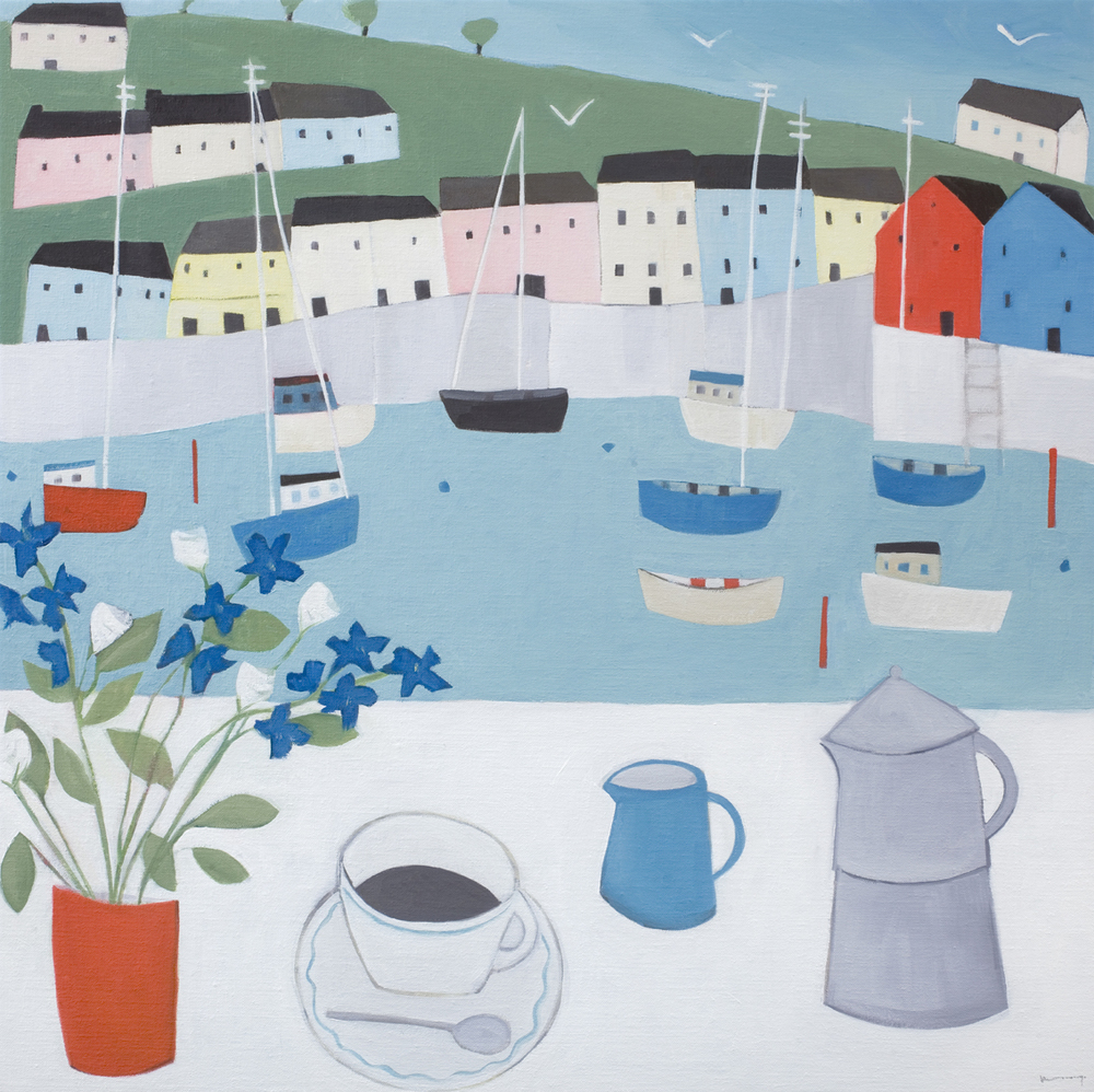 Coffee in Dartmouth  oil on linen  60 x 60cm  £1450