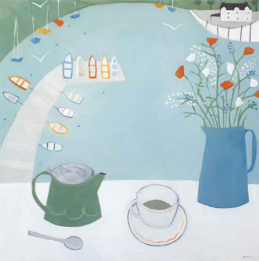 Green Tea in Dittisham   oil on linen   60 x 60cm  £1450
