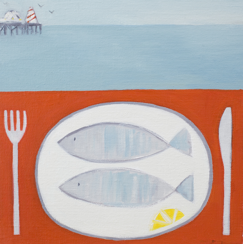 two fish   oil on linen   30 x 30cm  SOLD
