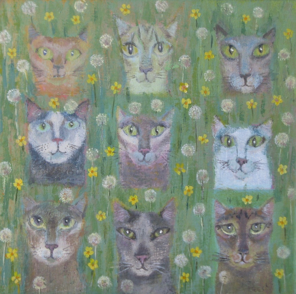 Nine Lives 17 x 17cm acrylic on board £250