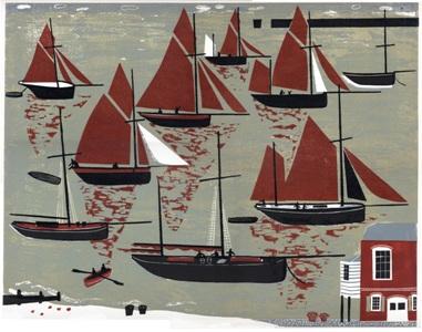 Melvyn Evans   Whitstable Oyster Fleet   linocut   £140