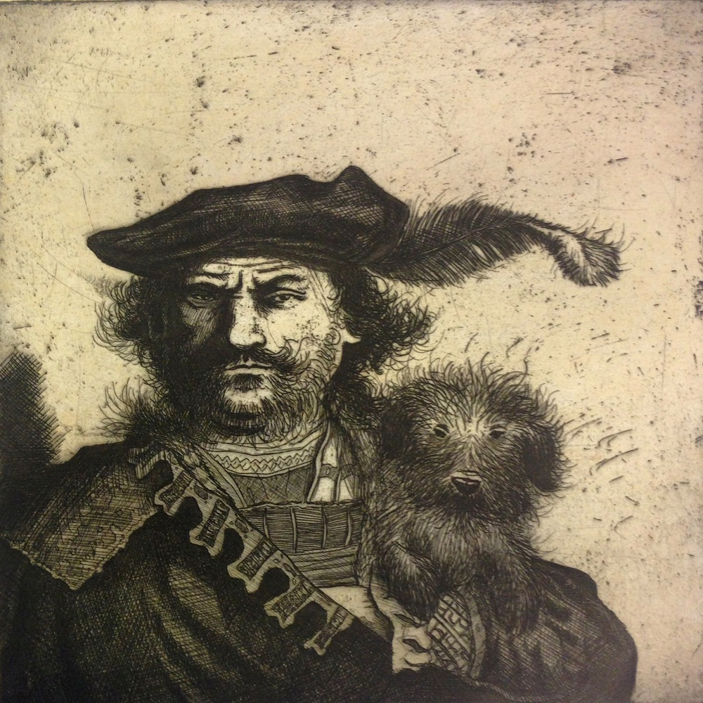 Mychael Barratt   Rembrandt's Dog  etching  £170