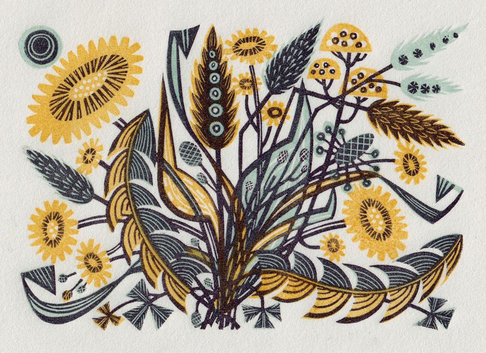 Angie Lewin   Dandelion Track II  wood engraving  £185