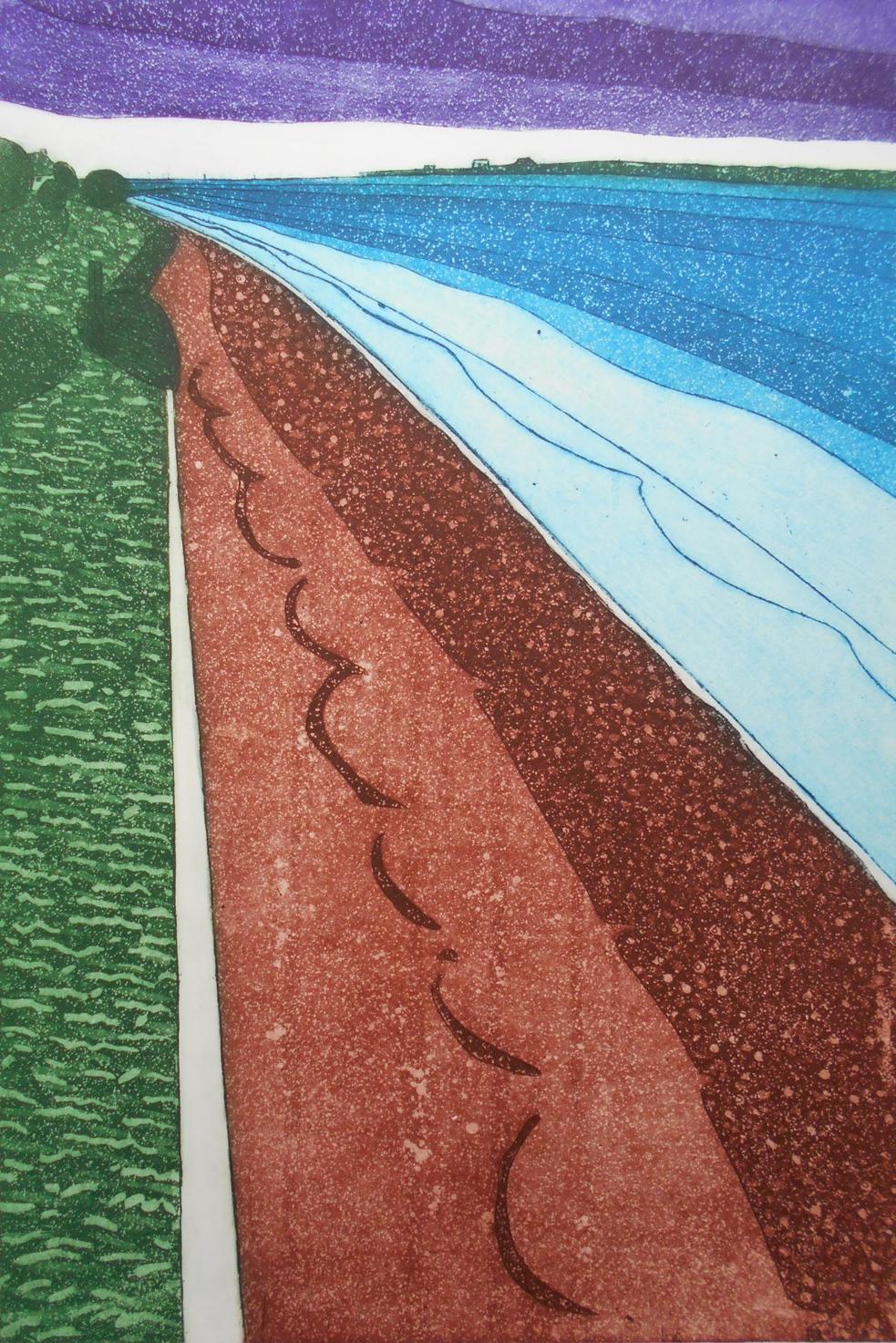 John Brunsdon   Towards Felixstowe  etching  £231