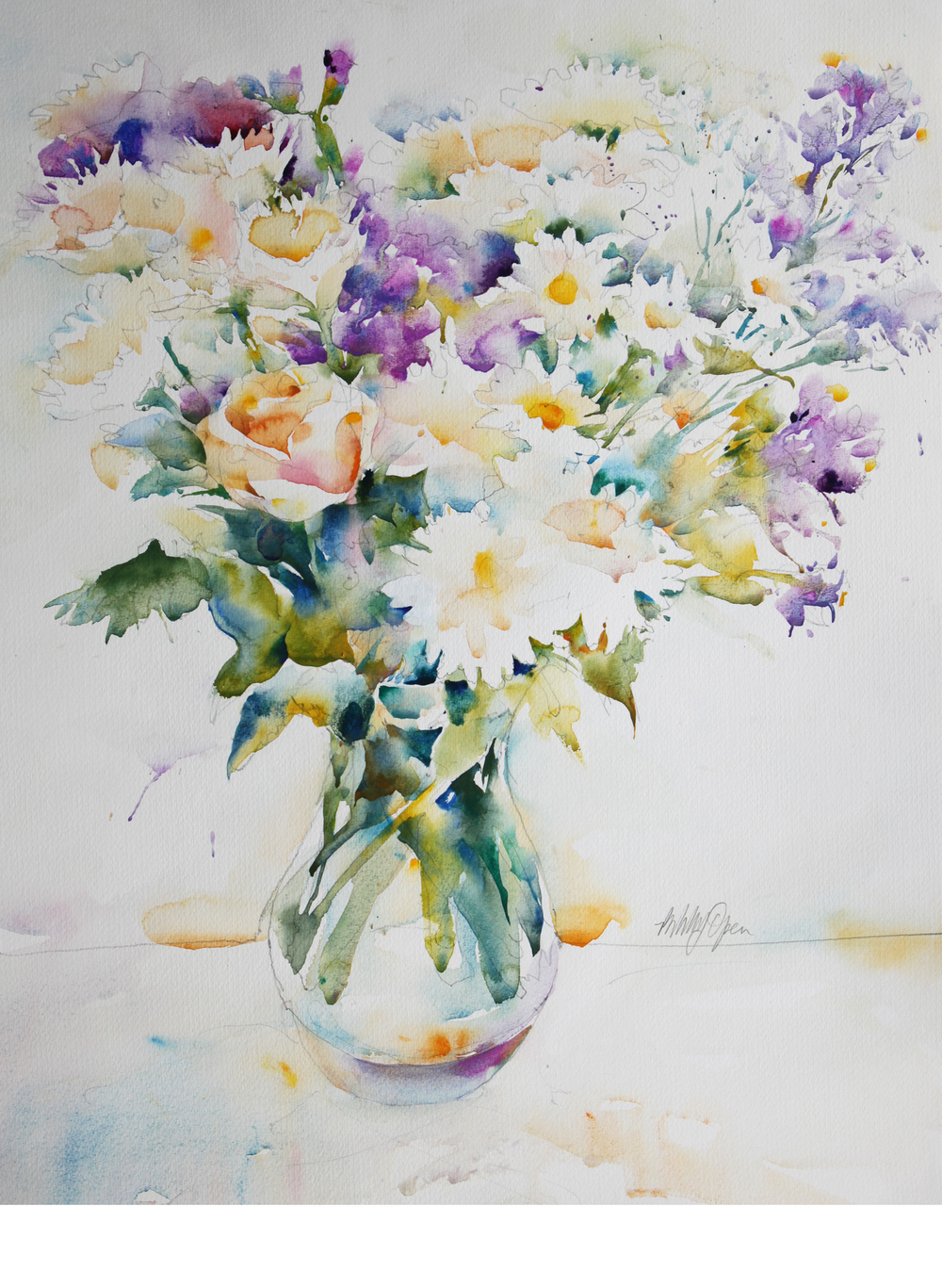 Arrangement with White Rose and Daisies watercolour 625 x 750 mm £850