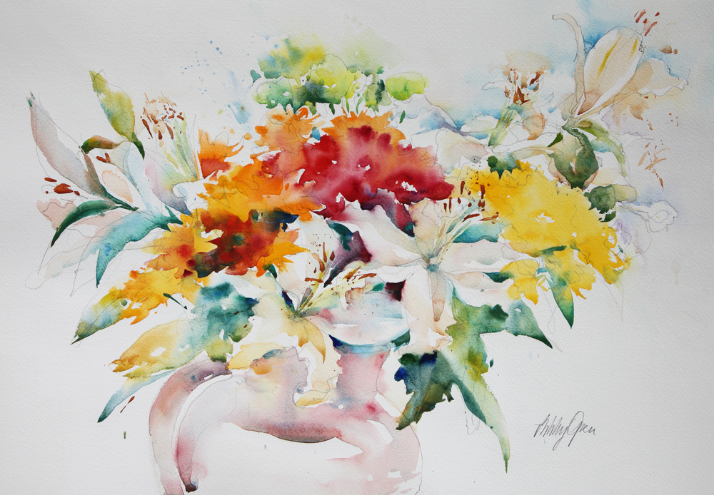 Flower Study with White Lilies watercolour 710 x 570 mm £800