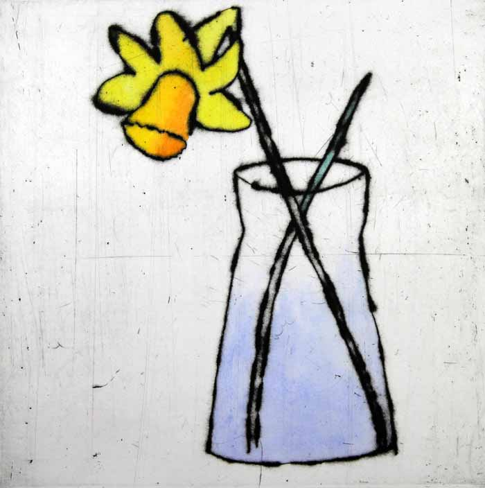 Daffodil drypoint and watercolour 35.5 x 35.5 cm £350 framed  £230 unframed
