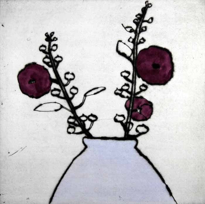 Hollyhocks drypoint & watercolour 35 x 35 cm £350 framed