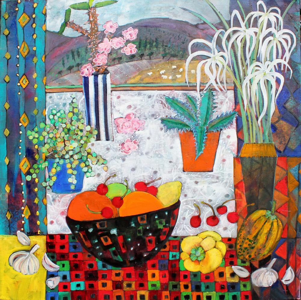 Cacti and Fruits  acrylic on canvas  61x61 cm  £980 unframed