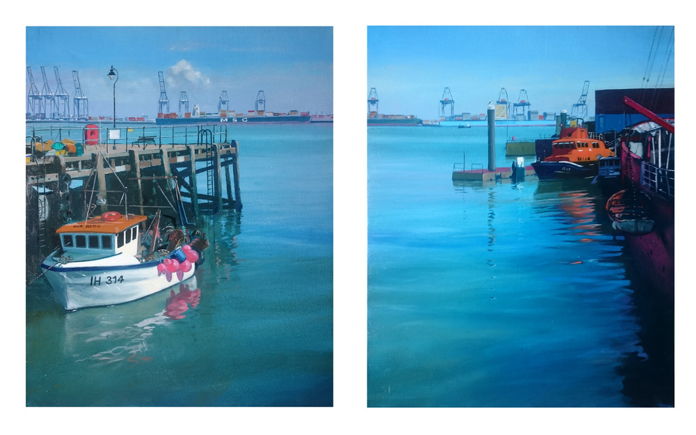 Diptych Harwich 11 & 12  50 x 40 cm each  oil on canvas  £1150