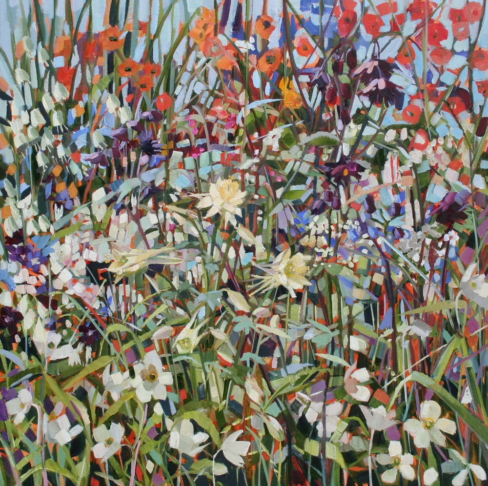 Spring Aquilegia oil on linen 60 x 60 cm SOLD