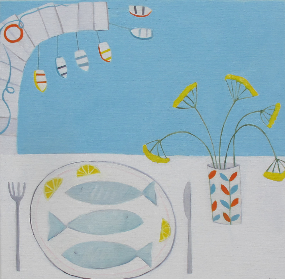 Three Fish for Lunch oil on linen 60cm x 60cm SOLD