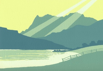 Ian Scott Massie   Blea Tarn and the Langdale Pikes  screenprint