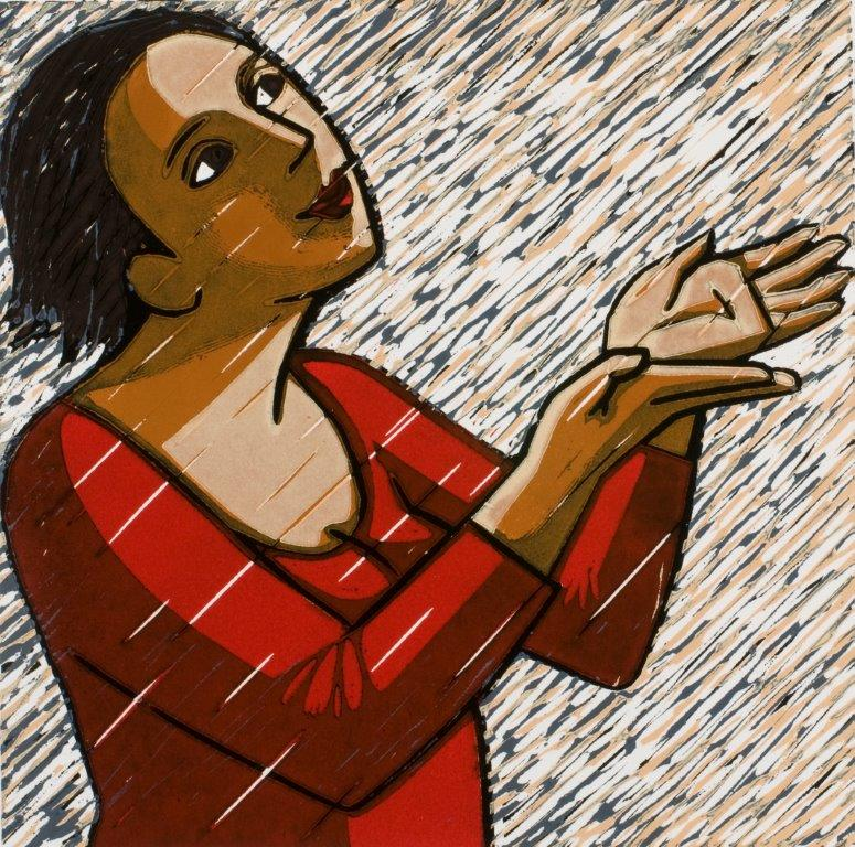 Anita Klein   Rain  linocut