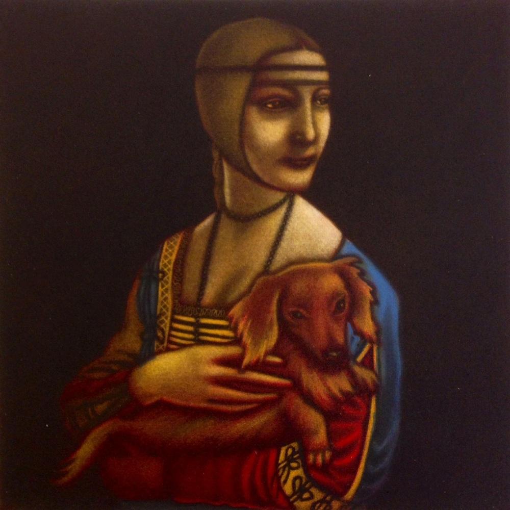 Mychael Barratt   Leonardo da Vinci's Dog  mezzotint