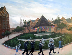 The Breathless Brass Band in Arnold Circus oil on panel 60 x 80 cm £2400 (framed)