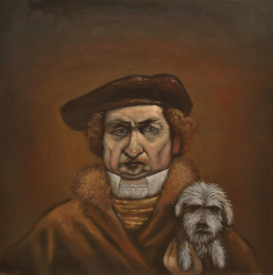 Rembrandt's Dog oil on panel 40 x 40 cm sold