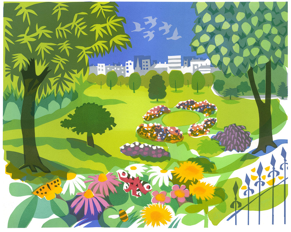 Park serigraph edition of 10 45 x 55 cm £360 framed, £275 unframed