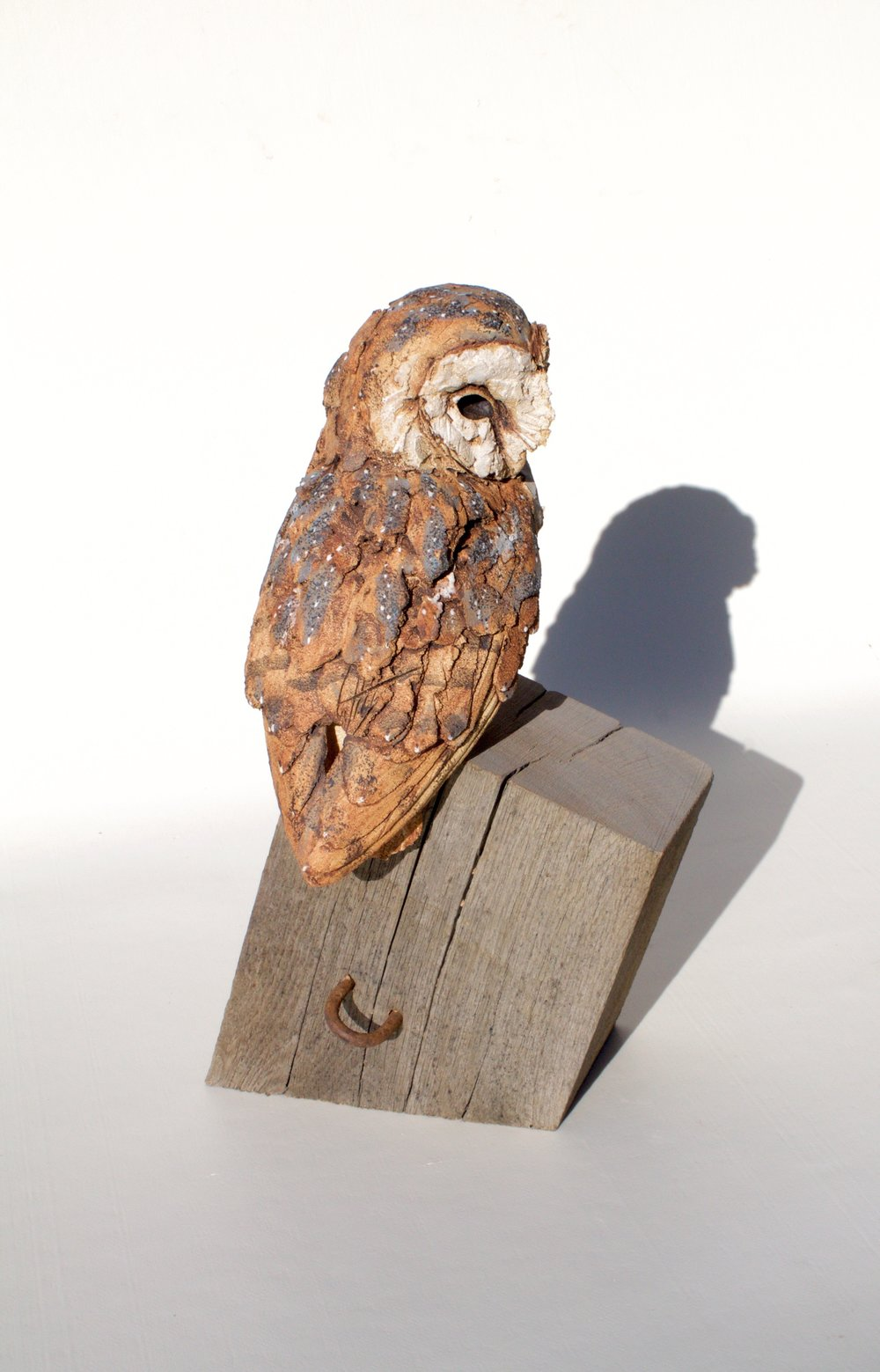 Perched Barn Owl  ceramic on wood  £550  SOLD