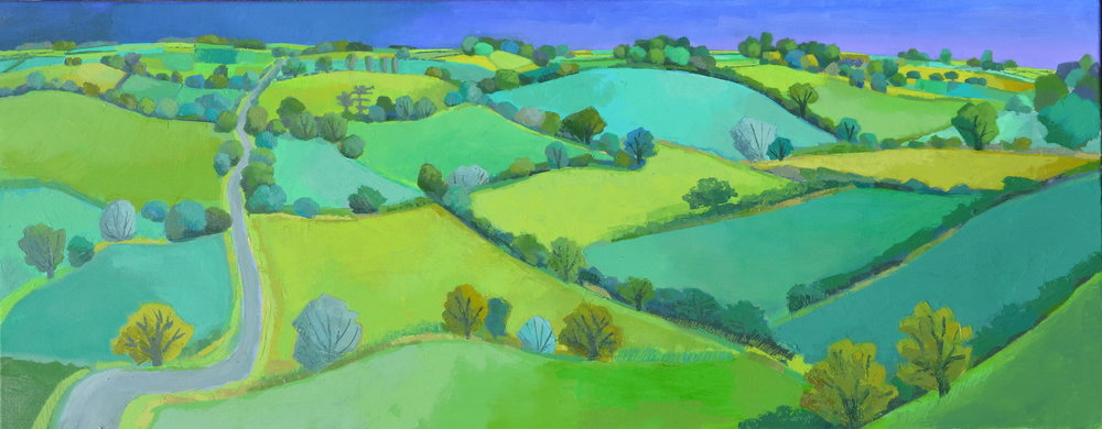 Lane Through Green Fields oil 40 x 100 cm £1850