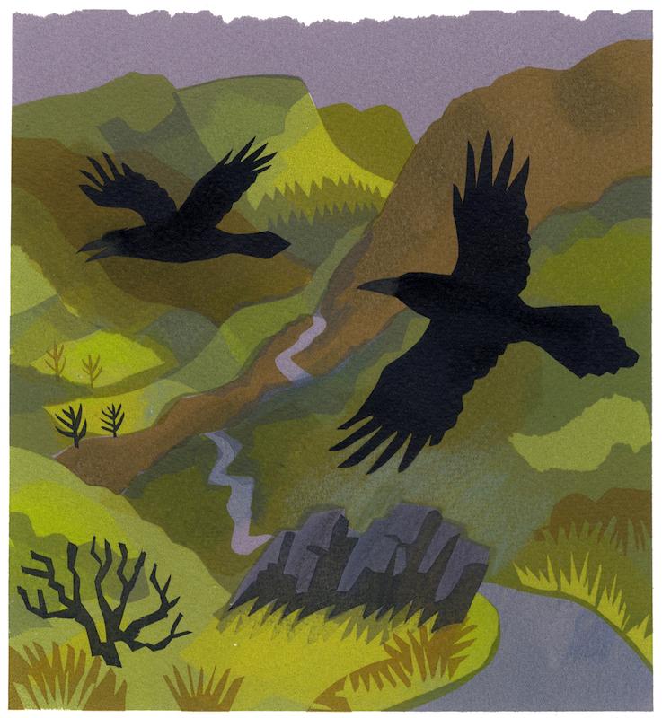 Hugin & Munin serigraph edition of 9 30 x 30 cm £280 framed, £210 unframed