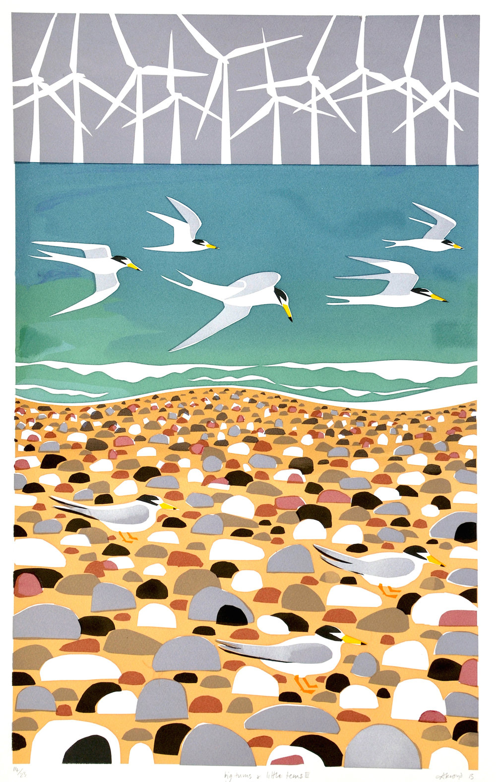 Carry Akroyd Big Turns and Little Terns serigraph