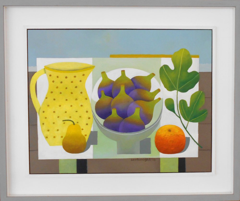 Still Life with Figs, Pear and Orange oil on board 77 x 64 cm including frame sold